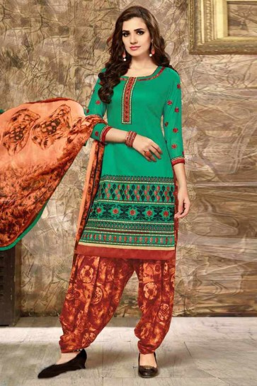 Green color Glace Cotton Patiala Salwar Kameez