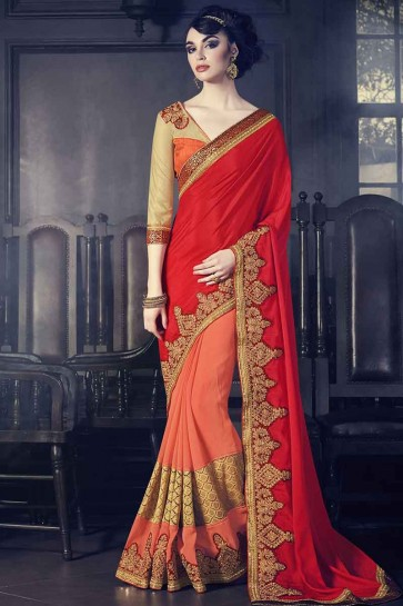 red and orange marble fancy fabrics and paper silk Saree