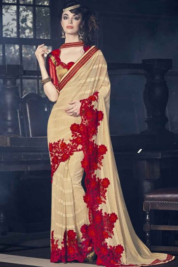 Light brown georgette and paper silk Saree