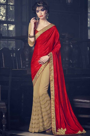 red and beige Fancy fabrics net and paper silk Saree