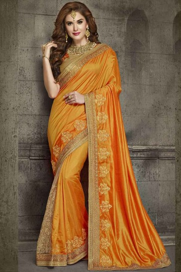 Orange Silk and Net Saree