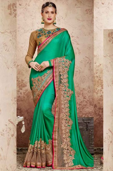 Green CREPE SILK CHIFFON Saree