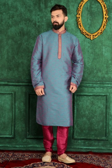 Blue, Rani (Cross Clr) Jaqurd Silk Brocade Ethnic Wear Kurta Readymade Kurta Payjama