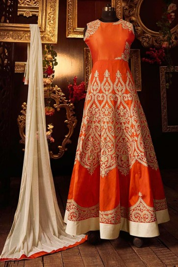 Orange Silk Anarkali Suit