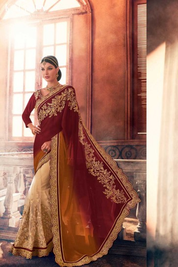 Brown Georgette,Net Saree