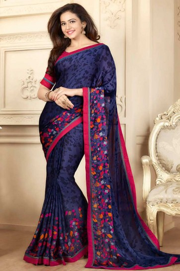 Navy Georgette Saree
