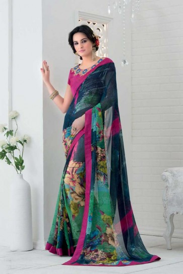 Multi Colour Bemberg Saree