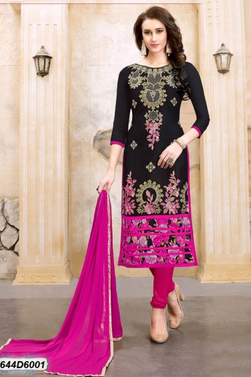 Black color Chanderi Cotton Churidar Suit