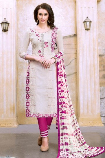 Cream color Chanderi Churidar Suit