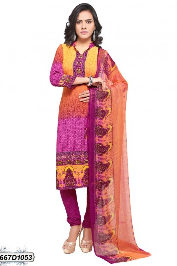 Pink color Crepe Churidar Suit