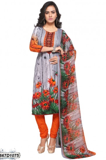 Grey color Crepe Churidar Suit