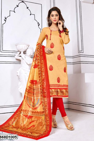Beige color Khadi Cotton Churidar Suit