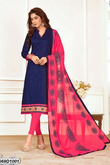 Navy Blue color Khadi Cotton Churidar Suit