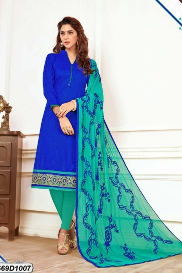 Royal Blue color Khadi Cotton Churidar Suit