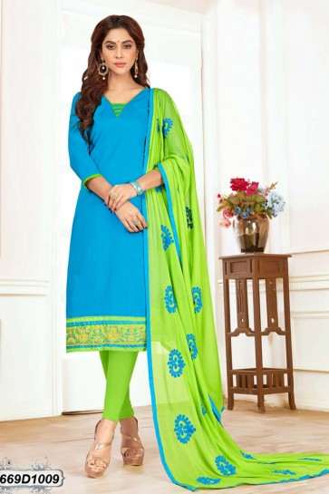 Blue color Khadi Cotton Churidar Suit