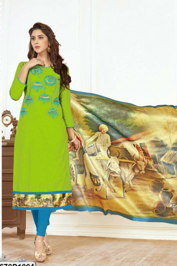 Green color Khadi Cotton Churidar Suit