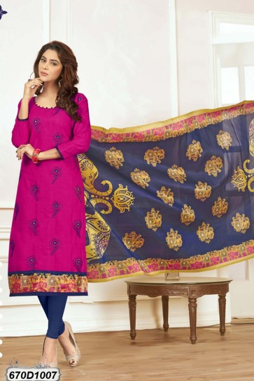 Pink color Khadi Cotton Churidar Suit