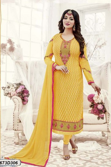 Yellow color Georgette Brasso Churidar Suit