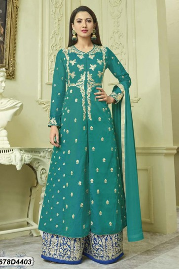 Turquoise color Raw Silk Anarkali Suit