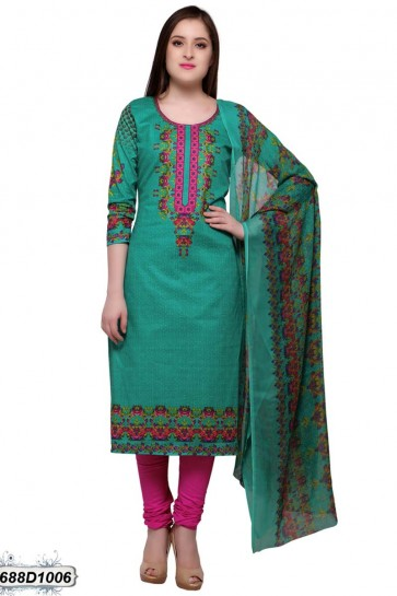 Peacock Green color Cotton Churidar Suit