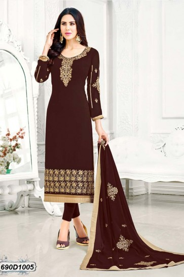 Brown color Georgette Churidar Suit