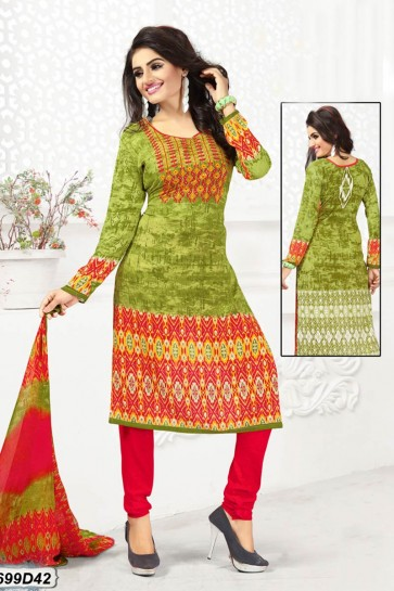 Green, Multi color Crepe Churidar Suit