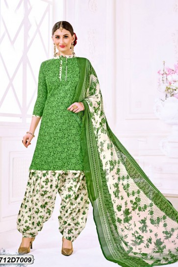 Off White, Green color Poly Cotton 42 inch