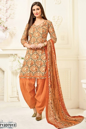 Off White, Peach, Brown color Poly Cotton 42 inch