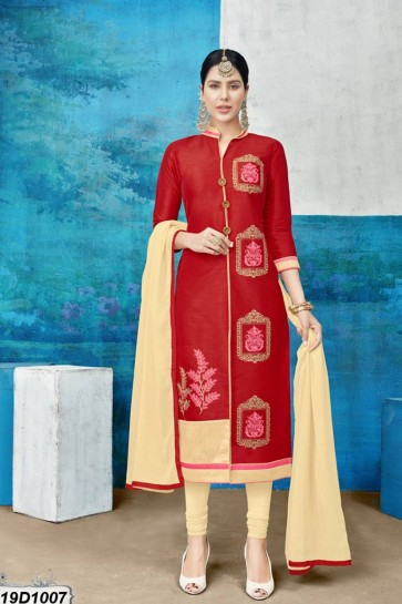 Red color Chanderi Silk Churidar Suit