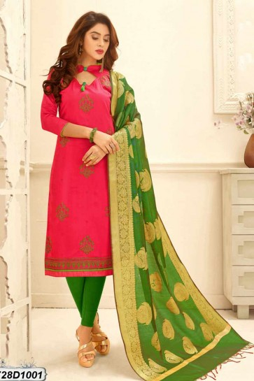Pink color Cotton Satin Churidar Suit