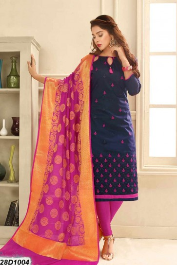 Navy Blue color Cotton Satin Churidar Suit