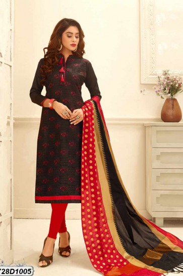 Black color Cotton Satin Churidar Suit