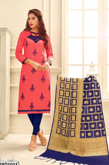 Red (Carrot Red) color Cotton Satin Churidar Suit