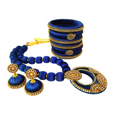 Royal Blue American diamond, synthatic pearl Necklace Set