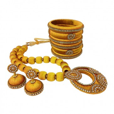 Musturd Yellow American diamond, synthatic pearl Necklace Set