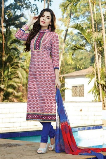 white, red Cotton Churidar Suit