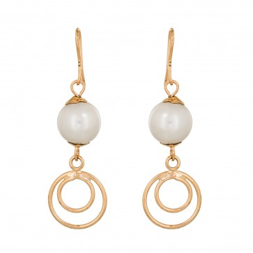 Pearls White & Golden Earrings