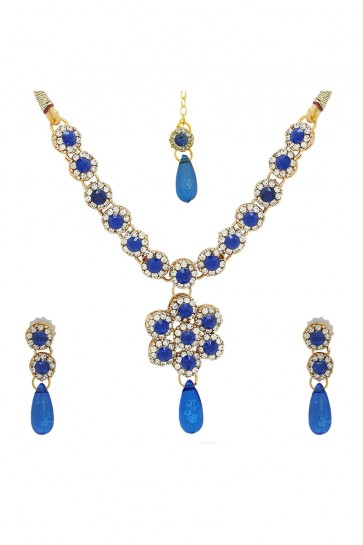 American Diamonds, Stones & Plastic Crystal Golden, White & Blue Necklace Set