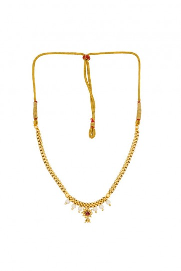 Stone & Pearls White, Pink & Golden Necklace