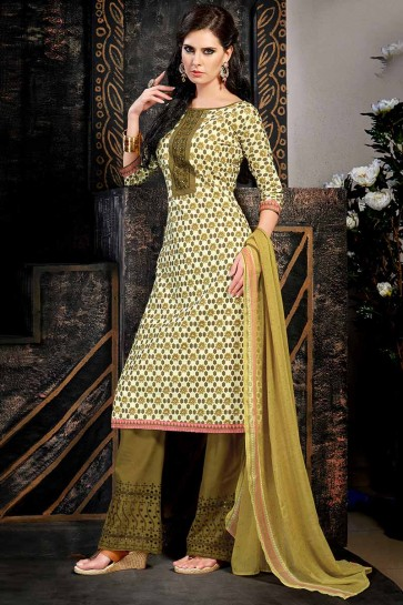 Cream & Olive Green Cambric  Cotton  Salwar Kameez