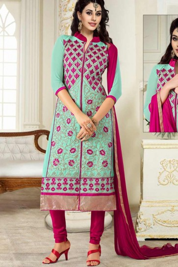 Light Aqua Semi Georgette Churidar Suit