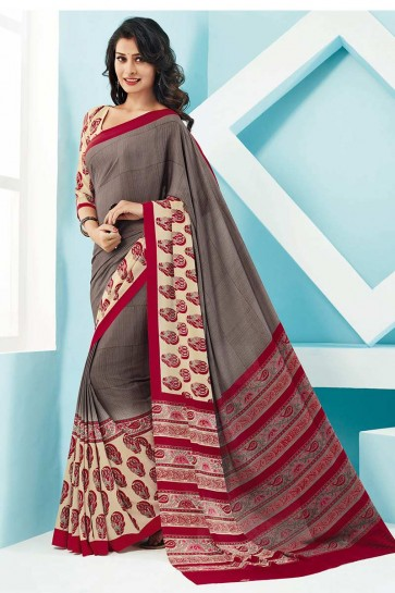 Grey Cream Crepe Saree