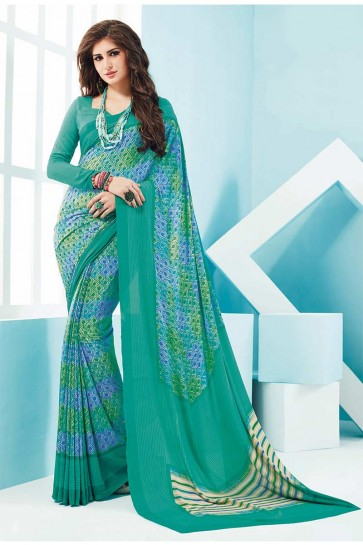 Sky Blue Crepe Saree