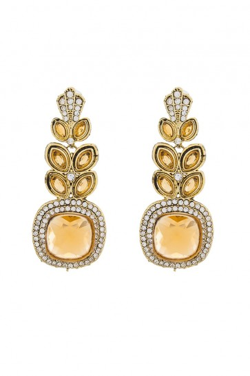 American Diamond & Stone Golden Earrings