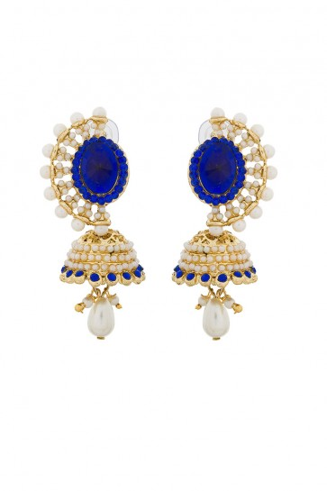 American Diamond, Pearls, Stone & Beads Blue, Golden & White Earrings