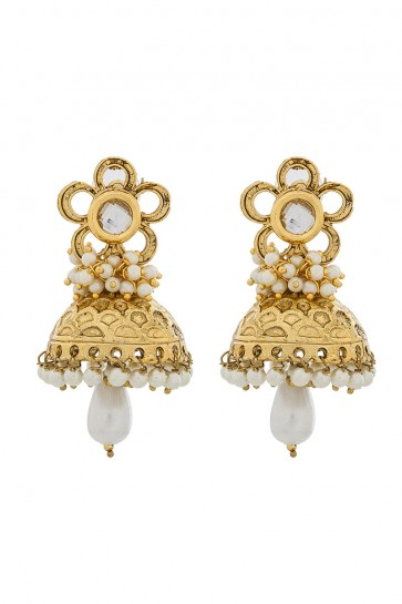 Australian Diamond, Beads & Pearls Golden & White Earrings
