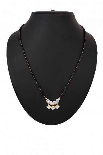American Diamond & Beads White & Golden Mangalsutra