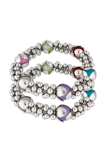 Pearls & Plastic Beads Multicolor Anklets
