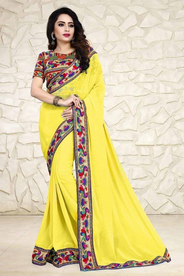 Yellow 60 GM Georgette Saree