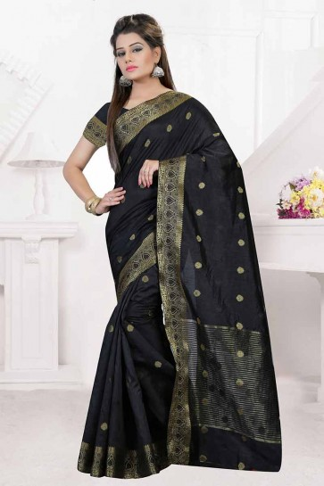 Black Nylon Art Silk Saree